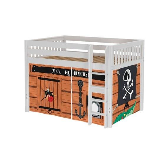 Playhouse Maxtrix Mid Loft Bed Full Pirates Curtains