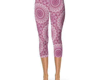 Yoga Pants Capri Pink - Mandala Printed Leggings, Capris for Women Elastic Waist