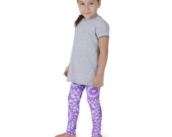 Leggings Girls Amethyst Yoga Pants for Kids, Purple and White Children's Activewear