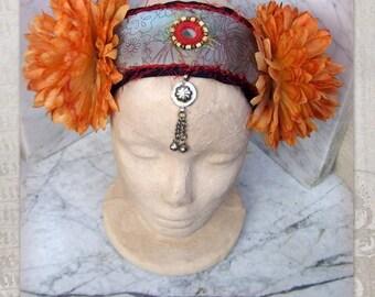 Flowers Headpiece, ATS Costume Headdress, Tribal Fusion Headdress, Tribal Belly Dance Headdress, Gypsy Headdress, Boho Silk Flowers Headband
