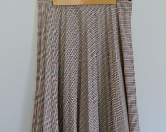 Vintage 1960's/1970's Plaid Multi-Colored Pleated Skirt -Parsons Place