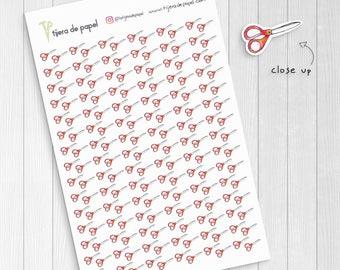 Red Scissors Stickers, School Supplies, Office Supplies Art, Homework Planner Stickers, Craft Stickers, Tiny Cute Stickers, ECLP