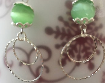 Silver with pale green earrings