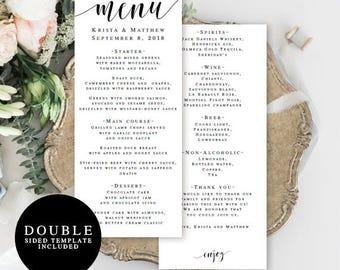Wedding menu template double sided Editable menu card Wedding table decor Rustic wedding menu Country chic wedding Printable menu card #vm31