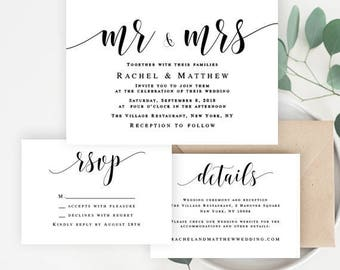 Wedding invitation suite Wedding invitation set template download Editable template Mr and Mrs wedding invite Wedding invitation kit #vm31