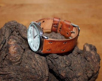 Leather watch strap 20mm, Wrist watch strap 22mm, Watch band 18mm 20mm 22mm 24mm, Natural Full Grain / Vegetable Tanned Leather