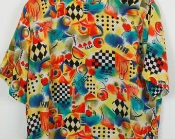 Vintage shirt, 80s clothing, shirt 80s, colorful print, short sleeves, oversized