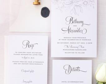 Bethany Silver Wedding Invitation Sets, Calligraphy Wedding Invitations, Printed Sets or Printable Invitations, Belly Bands Invitations