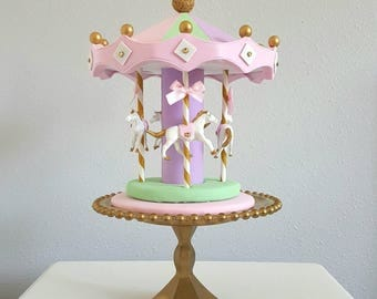 Carousel cake topper / centerpiece - pink, mint, lavender, white, Gold