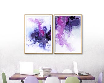 Set of 2 Abstract Wall Art Ultra Violet Watercolor Print Modern Artwork Extra Large Digital Print Diptych Painting 2 Piece Wall Art