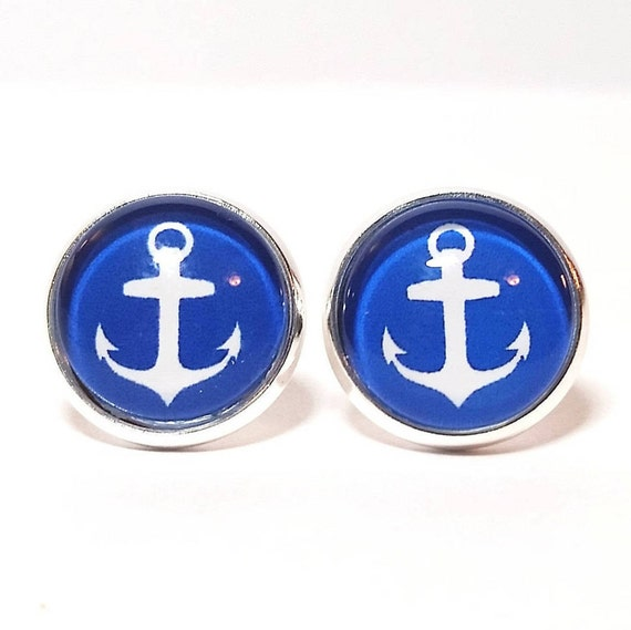 WHOLESALE-Nautical Anchor Earrings, Available in silver, bronze or rose gold, Stud or French Wire