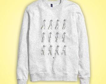 Sweatshirt casual MOONWALK Michael Jackson dancing dance King of Pop gris grey gray dessin illustration