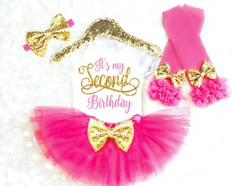 2nd Birthday Outfit Girl Its my Second Birthday Outfit Pink and Gold Tutu Girls Birthday Outfit 2nd Birthday Shirt Birthday Girl Outfit 15