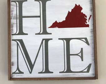 State Home Decor, Home Sign, Rustic Home Decor, Rustic State Sign, Handmade Decor, Gallery Wall, Handmade Gift, The Niche And Nail