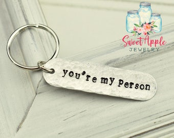 You're My Person Keychain, You're My Person, Funny Keychain, Couples Keychain, Husband Gift, Gifts For Her, Silly Keychain, Stamped Keychain