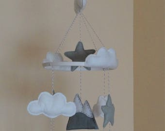Adventure  unisex baby mobile Grey, mint, pastel yellow