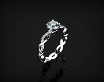 Aquamarine Engagement Ring White Gold Engagement Ring White Gold  Aquamarine White Gold Ring Gold Aquamarine Ring