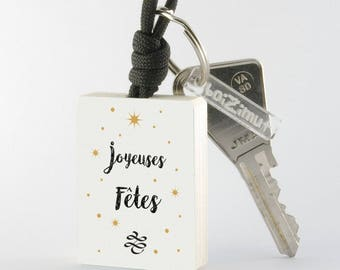 Porte-Clé en bois ''Joyeuses Fêtes''