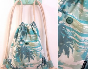 Drawstring bag, Vegan Bag, Shoulder Bag, canvas bag, beach bag, blue bag, Drawstring backpack, String bag, Cinch bag, gift for her, tropic