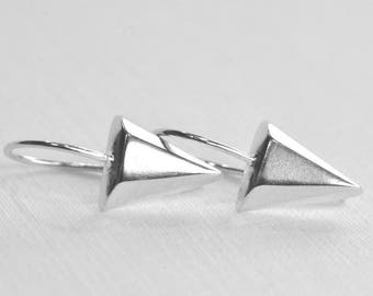 Triangle Silver Earrings, Statement Earrings, Punk Earrings, Geometric Earrings, White Gold Earrings, Trendy Earrings, Rose Gold Dangle