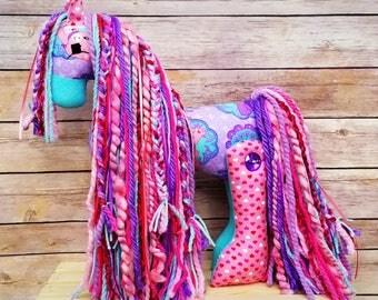 Easter pony easter gift stuffed pony girl gift horse stuffed pony stuffed horse toy unicorn birthday gift gift for girl negle Images