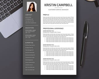Professional Resume Template, CV Template, Cover Letter, References, Word, Creative Modern Teacher Resume, Instant Digital Download, Kristin