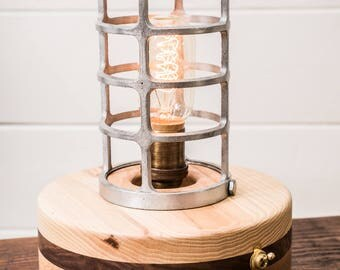 Reclaimed Cage lamp, Industrial Lamp, Accent Lamp, Nautical Lamp, Industrial Cage Lamp