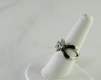 Clear Stone Sterling Ring Size 8.5