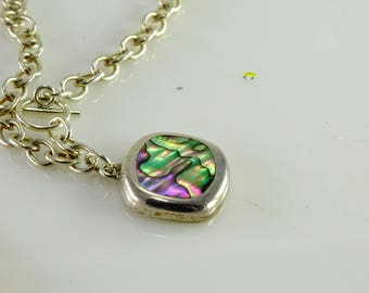 """Multi Colored Pendant on a Front Close Toggle 16"""" Chain All Sterling"""