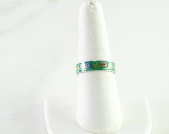 Green Enamel Sterling Ring Size 8