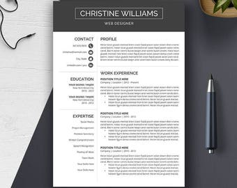 Professional Resume Template, Cover Letter, CV Template, Word, Creative Resume, Modern, Teacher Resume Template. Instant Download, Christine