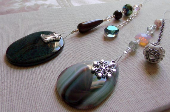 Christmas gemstone ornament - green tree agate pendant - silver holiday charms - beaded decor  ideas - green teardrop -  Lizporiginals