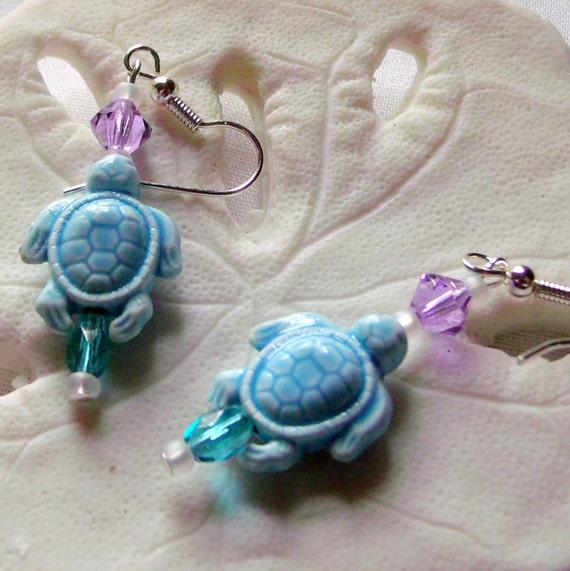 Ceramic turtle dark blue  - gray - aqua earrings - ocean sea life inspired  - short dangle - aquarium -teen girl gift - LizPoriginals