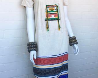 Vintage Embroidered Mexican Peasant Maxi Dress// Bohemian Folk Floral Boho Hippie Ethnic Festival Dress