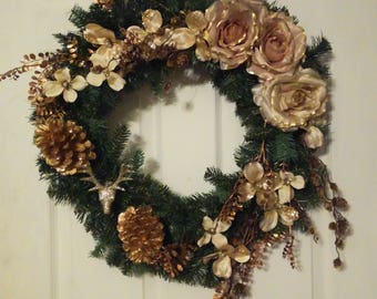 Clearance | Christmas Wreath | Winter Wreath | Christmas Decor | Gold | Glitter | Pine | Pine Cones | Roses |