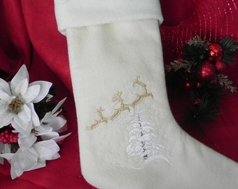 Flying Reindeer Personalized Stocking