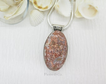 Vintage Orange Jasper Sterling Silver Pendant and Chain