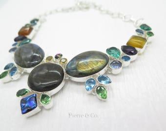 Blue Fire Labradorite Blue Topaz Peridot Citrine Sterling Silver Necklace