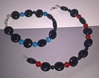 "Onyx Bracelet with Carnelian - ""Nightlife"""