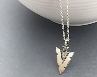 Silver Arrowhead Necklace, Mens Arrowhead Necklace, Arrowhead Jewelry, Arrowhead Pendant, Metal Arrowhead,Arrowhead Necklace Gift