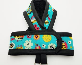RETRO BIRDS TEAL Premium Cat Harness / Your Choice border Color/ Walking Butterfly Vest /Ultra Light Design/ Sphynx Cat Clothes & all breeds
