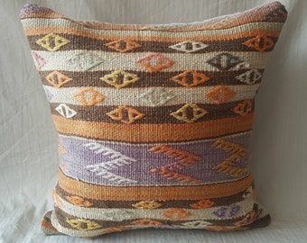 "Kilim Pillow, Cushion Cover, 18""×18""inches, 45×45cm, Decorative Kilim, Pillow Cover, Hand Woven, Hand Made, Kilim Cushion, Decorative Pillow"