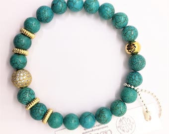 Turquoise Gemstone & Gold Pave Bead Bracelet, Valentines Day Gift, Micro Pave Stretch Boho Yoga Beach Friendship layering Healing jewelry