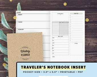 POCKET Size TN | Weekly Plan Undated + Habit Tracker, To Do List, Meals, Travelers Notebook Inserts Printable, Field Notes | Printable PDF