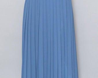 Vintage 1980's Bianca Blue Pleated Midi Skirt