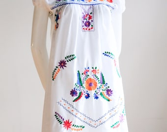 Mexican Dress | Embroidered Dress | Floral Embroidery | Ethnic Dress | White Mexican Dress | Floral  Mexican  Dress | Boho Dress | Bohemian