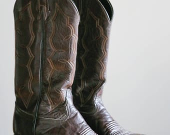 Cowboy Boots | Tony Lama Boots | Vintage Cowboy Boots | Western Boots Size 6.5B | Western Footwear | Tony Lama Brown  Boots | Leather Boots