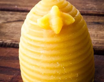 Cute 100% Pure Beeswax Beehive Candle - Pure all natural raw beeswax with cotton wick