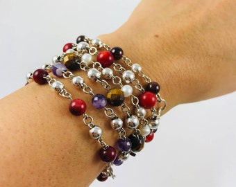 Genuine Gemstones and Silver Ball Beads Bracelet. Classic, Colorful Jewelry, Birthstones, Gifts for her. Turquoise, Carnelian, Onyx, Pearls