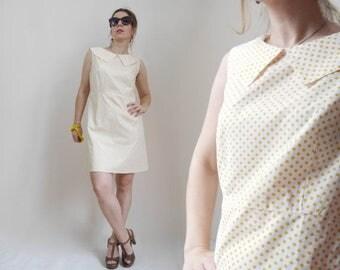 SALE 25% 50s Style Mini dress White dress Yellow Polka Dot print A-line dress Short Summer dress Puritan collar